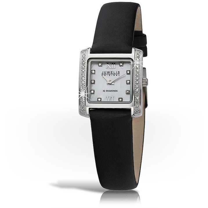 Juwelis Elevo Damenuhr JWS6005LBKTX mit 42 Diamanten