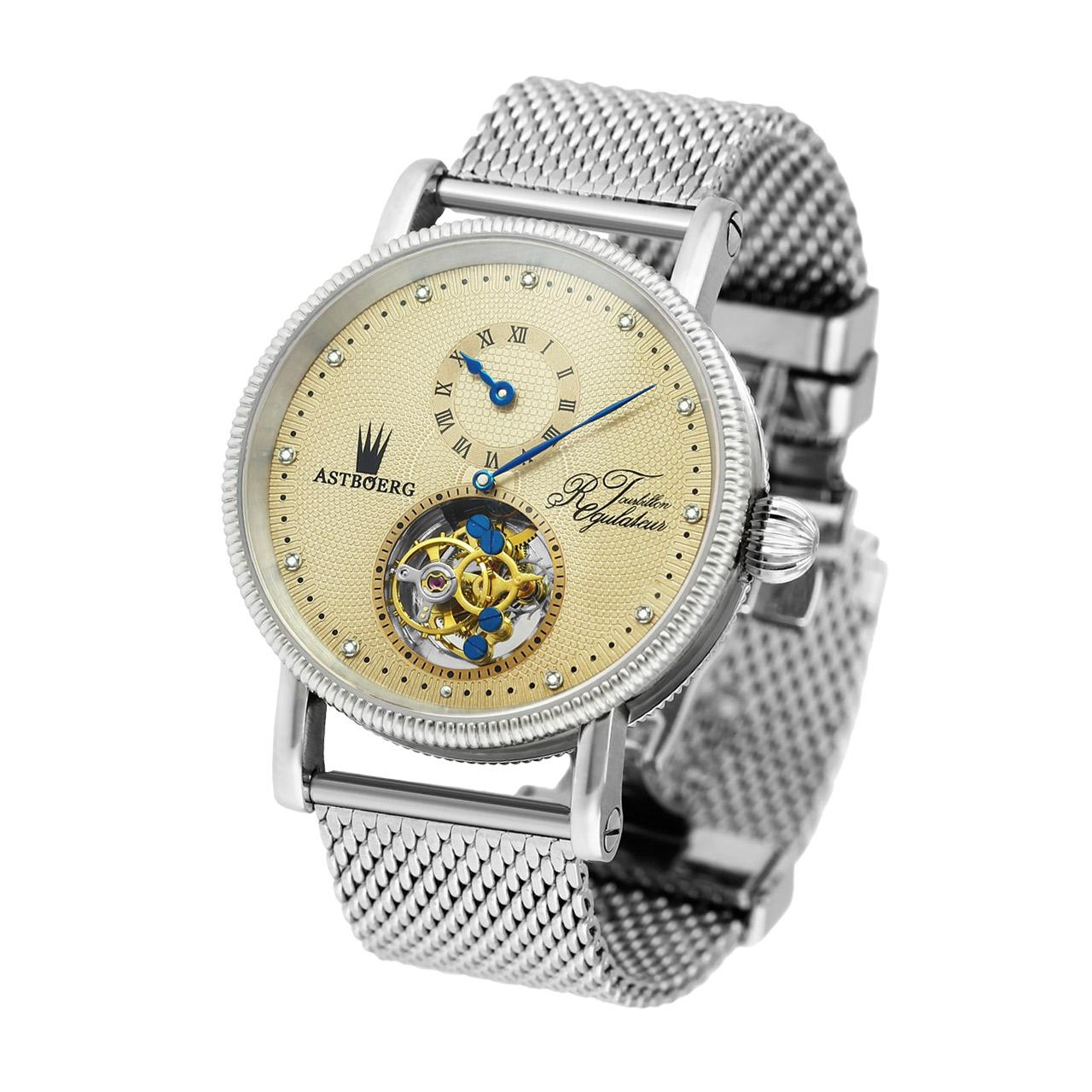 Astboerg Regulator AT702M1 Tourbillon Armbanduhr mit Diamanten