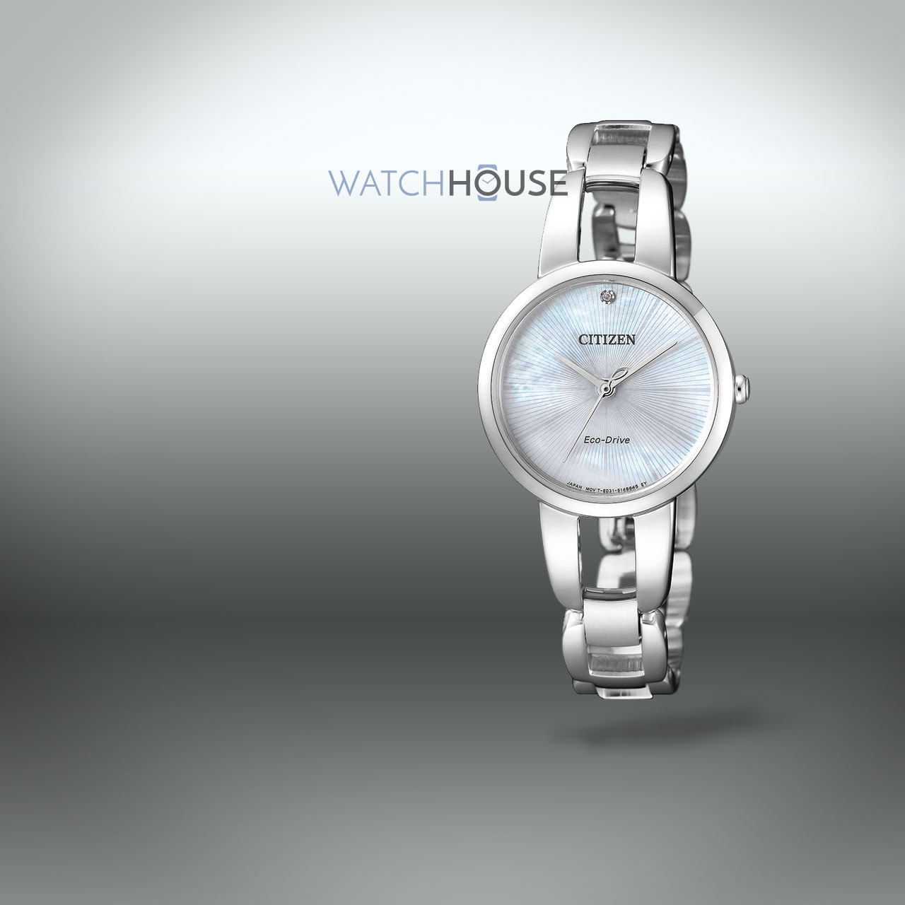 Citizen EM0430-85N Elegant Damen Armbanduhr mit Diamant und Perlmutt