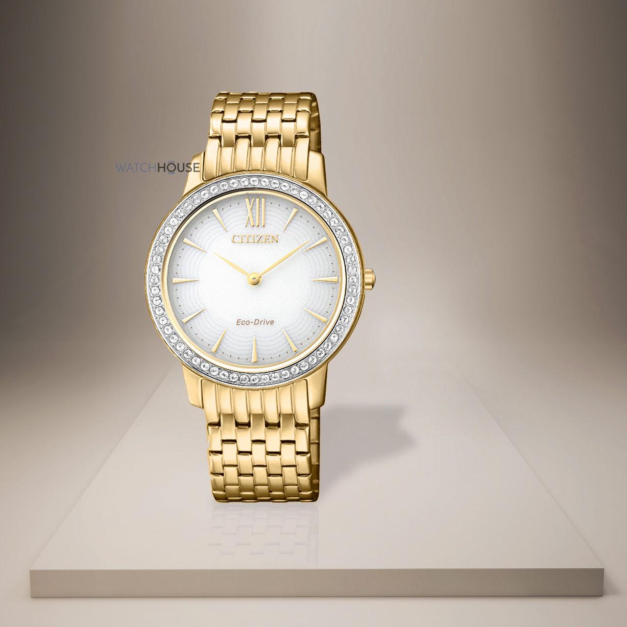Citizen komplett vergoldete EX1483-84A Damenuhr mit Saphir und Swarovski