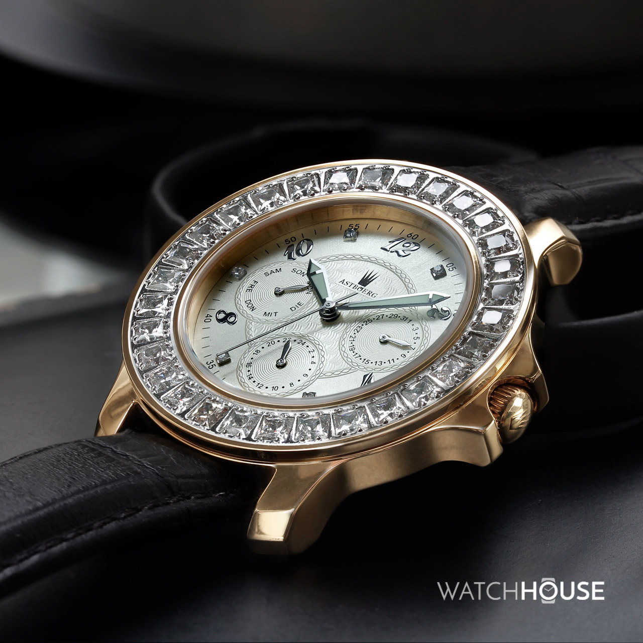 Astboerg Royal Diamond Champagner AT406i Diamanten Damenuhr