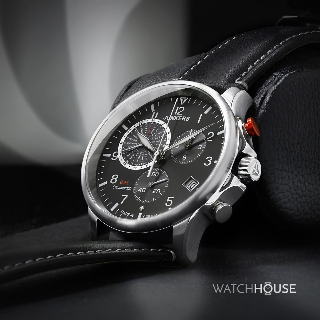 Junkers Serie Tante JU 6892-2 Weltzeit Chronograph Herren Armbanduhr