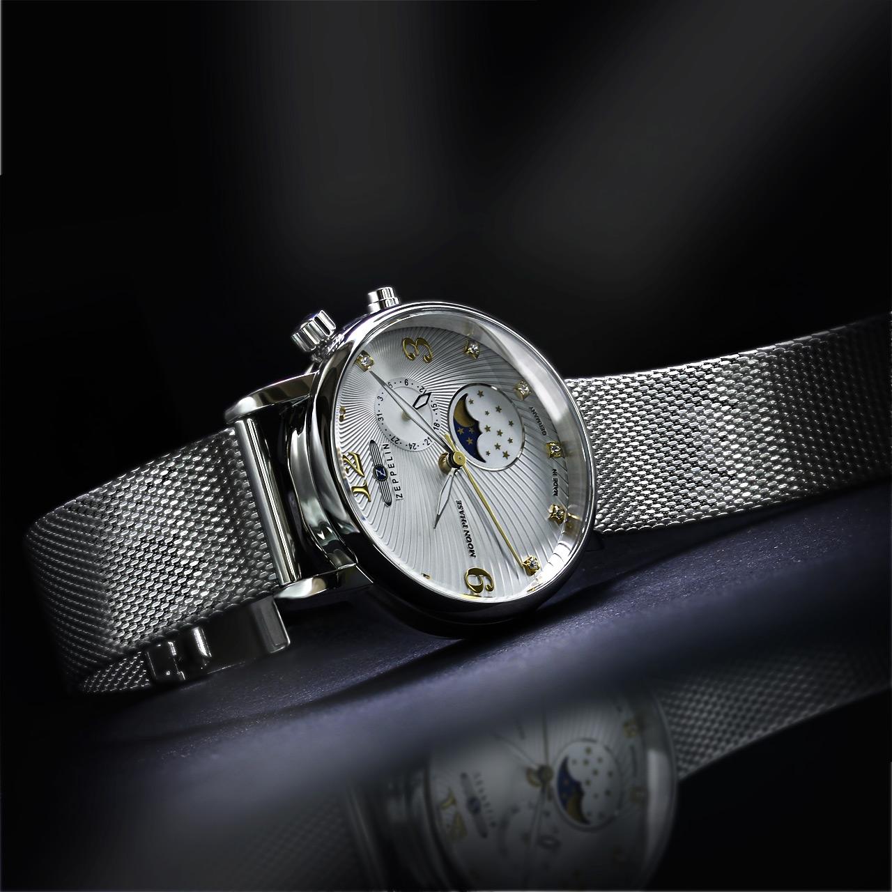 Zeppelin Damen Armbanduhr Serie Luna 7637M-1 mit Mondphasenanzeige
