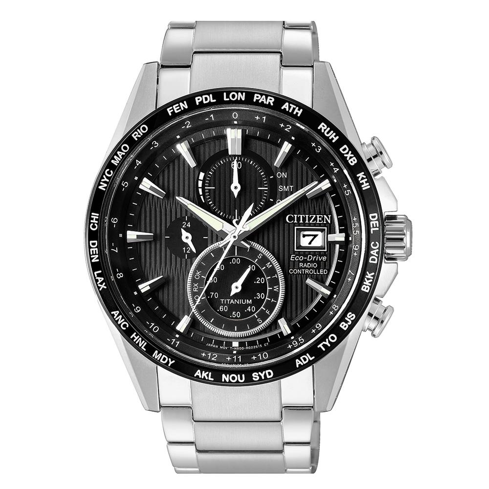 Citizen Super Titanium AT8154-82E Herren Chrono 4 Zonen Funkuhr Weltzeit