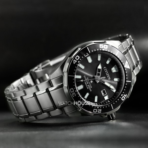 detailed look details for fashion style Citizen Promaster Marine BN0200-81E Diver Eco Drive Men's Super Titanium