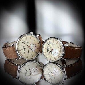 Zeppelin Paar-Uhrenset mit klassischem Design in Braun/Beige und dezentraler Sekunde