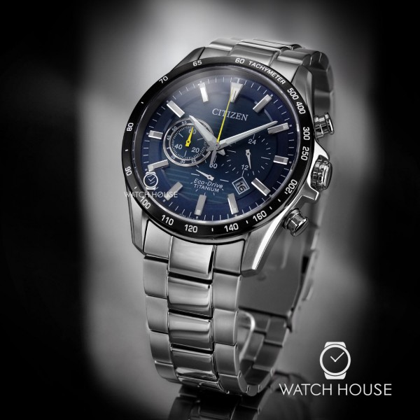 Citizen Herrenuhr CA4444-82L Eco-Drive aus Titan in blau