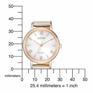 Citizen Ladies Eco Drive EM0576-80A Solar Womens Wristwatch With Milanaise Bracelet