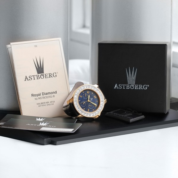 Astboerg Royal Diamond Blau AT406B Damenuhr mit Diamanten