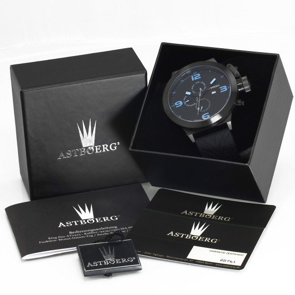 Astboerg Kingsize STEEL AT0215-TW-B XXL SWISS MOV. Herren Armbanduhr GMT 52mm